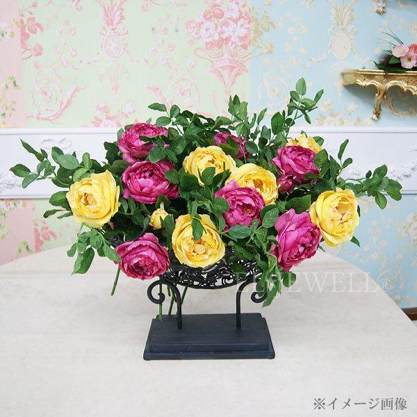【完売】【Art silk flower】「キャベッジローズ」ラズベリー&イエロー(1本)