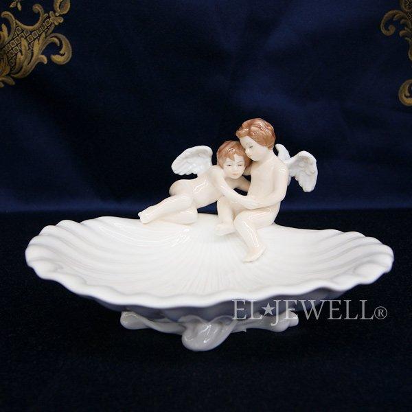 【入荷未定】陶器製シェル型エンジェルの小物入れ ホワイト