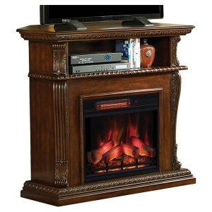 <b>【LLOYD GRANDE】</b>高級木製マントルピース暖炉本体セット「コリンス」バーニッシュウォールナット(W1066×D393×H1016mm)