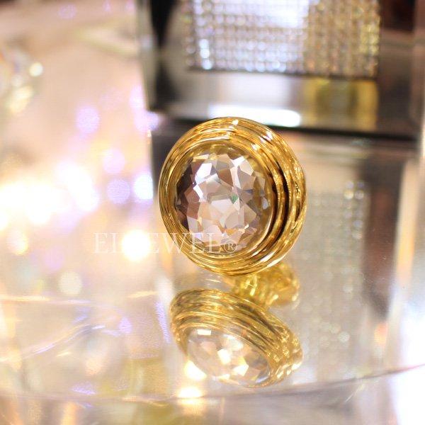 【即納可!】クリスタルガラス取っ手 (つまみ) ゴールド (φ30mm)