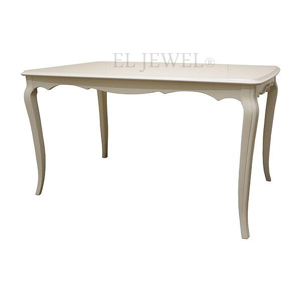 真っ白い高級ロココ家具【LimogesW】ダイニングテーブル130 W130×D80×H72cm