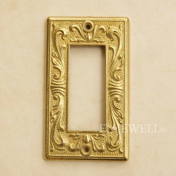 【完売/廃番】真鍮製スイッチプレート アンティーク・ゴールド 3穴 W7×H12cm