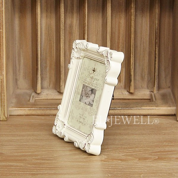 【即納可!】アンティーク調スクエアフォトフレーム オフホワイト Sサイズ(W12.5×H16.5cm)