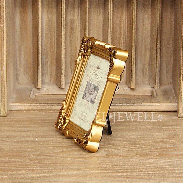 【入荷未定】 アンティーク調スクエアフォトフレーム ゴールド Sサイズ(W12.5×H16.5cm)