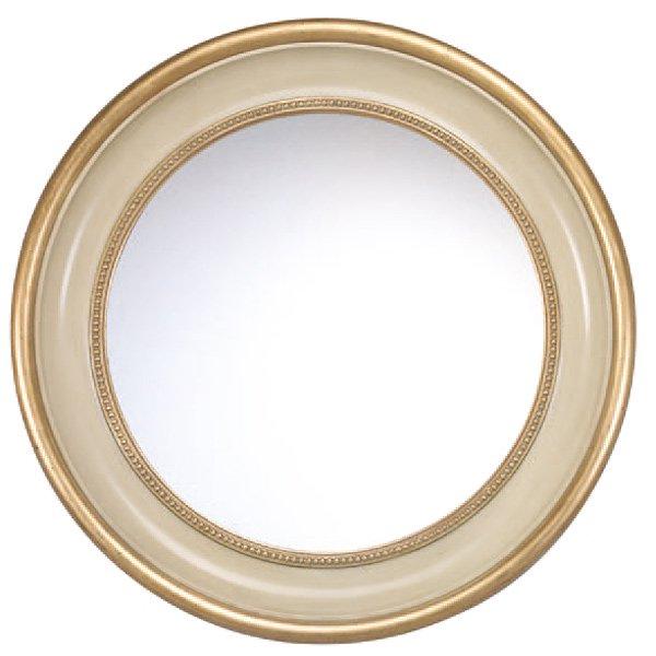 【イタリア直輸入】ロココ調・ゴージャスミラー アンティークゴールド×オフホワイト(φ106cm)