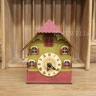 <b>【即納可!】</b>可愛く光る♪ ウッドハウスクロック ピンク