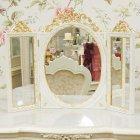<B>【即納可!】</B>【イタリア製】ロココ調スタンドミラー・ホワイト×ゴールド 三面鏡 W61×H46cm