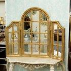 <B>【即納可!】</B>アンティーク調 ウィンドウフレームミラー・ゴールド 三面鏡 W190×H90cm