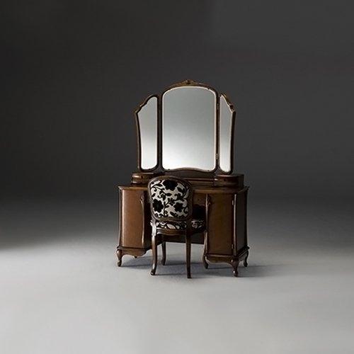 国産・高級ロココ家具【カンティーニュ】ドレッサー「アロール3面」アンティーク色orブラック W111cm