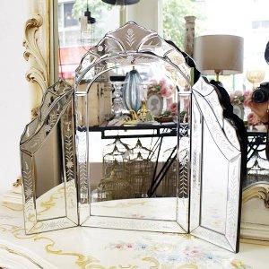 <B>【即納可!】【ベネチアンミラー】</B>Mirrored Furniture テーブルミラー・三面鏡(W60×H53cm)