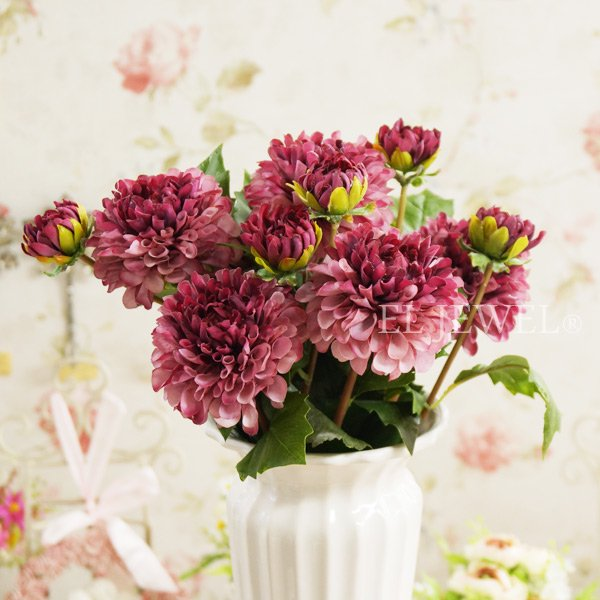 【即納可!】【Art silk flower】「ダリア」ライトモーブ 1本 φ7.5×L51cm