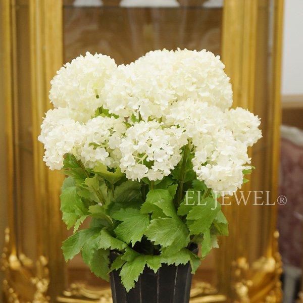 【入荷未定】【Art silk flower】「スノーボール」クリームホワイト1本φ7.5cm