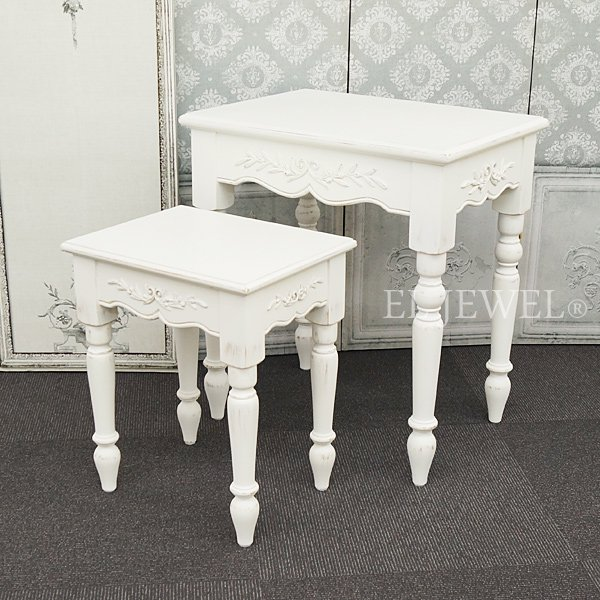 【Country Corner】  ロマンスコレクション♪ ネストテーブル(W55×H61cm、W38×H45cm)