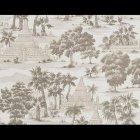 輸入壁紙<b>【フランス・PIERRE FREY】</b>トワルドジュイ柄 RANGOON グレー×ホワイトシルバー系 52cm巾×10.05m巻