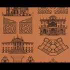 輸入壁紙<b>【フランス・PIERRE FREY】</b>PALAZZO ブラウン系 68.5cm巾×10.05m巻