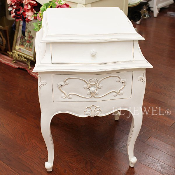 【即納可!】【フランス家具-Bois&Charme】 引出付きスモールテーブル アンティークホワイト(W48×H65cm)