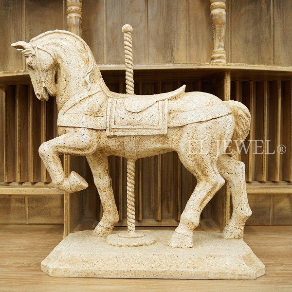 【即納可!】インテリアのワンポイントに♪ ブロカント・木馬オーナメント(W40.2×H39.5cm)