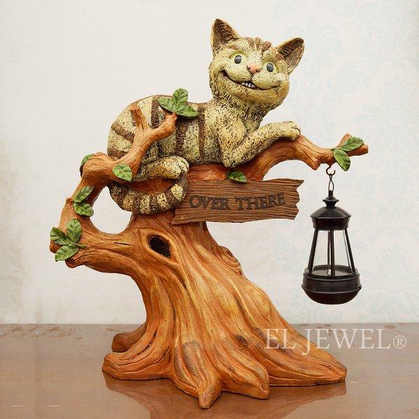 【25%OFF】インテリアのワンポイントに♪「不思議の国のアリス」チェシャ猫・ソーラーライト(W36×H44cm)