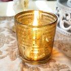 【即納可!】オイル付き♪ ガラス製 ランプホルダー Sサイズ ゴールド(φ7×H8cm)