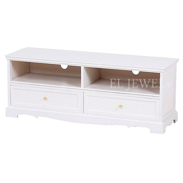 【セール!】フェミニンな白家具♪テレビボード・ホワイト(W110×D33.5×H42cm)