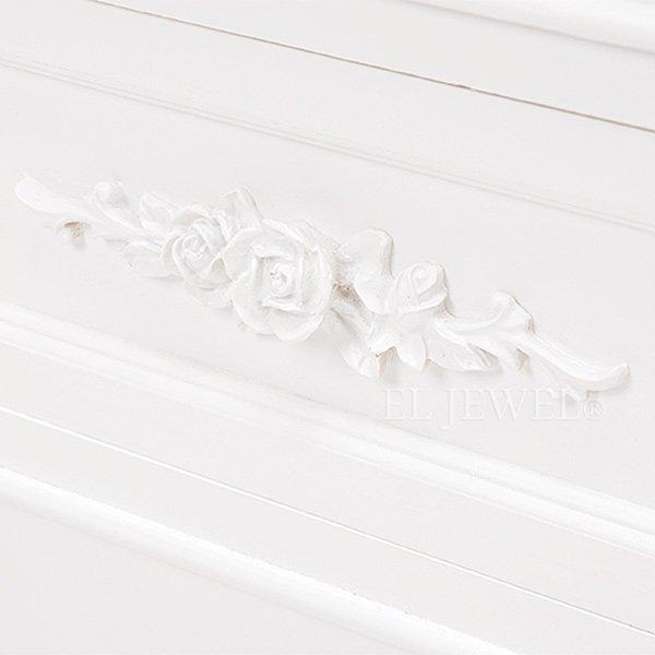 【セール!】フェミニンな白家具♪ローズ・4段チェスト ホワイト(W65×D33×H80cm)