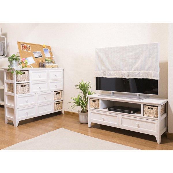 【セール!】【SHABBY WOOD FURNITURE】ナチュラルスタイル♪テレビボード・アンティークホワイト(W90×D34×H40.5cm)