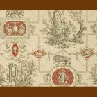 輸入壁紙<b>【フランス・BRAQUENIE】</b>トワルドジュイ柄 LES MUSES ET LION ベージュ 71cm巾×4.57m巻
