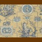 輸入壁紙<b>【フランス・BRAQUENIE】</b>トワルドジュイ柄 LES MUSES ET LION ブルー 71cm巾×4.57m巻