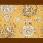 輸入壁紙<b>【フランス・BRAQUENIE】</b>トワルドジュイ柄 LES MUSES ET LION オークル 71cm巾×4.57m巻