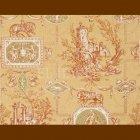 輸入壁紙<b>【フランス・BRAQUENIE】</b>トワルドジュイ柄 LES MUSES ET LION コッパー 71cm巾×4.57m巻