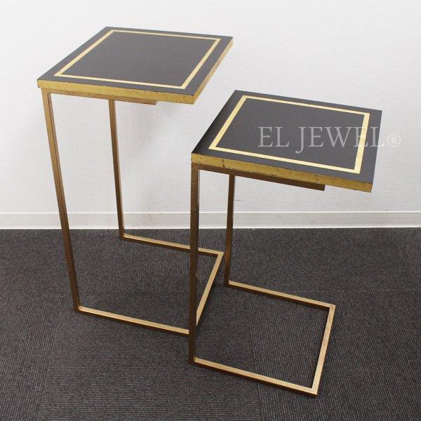 【即納可!】 スペイン Carmen Pardo-Valcarce社 ネストテーブル ブラック×ゴールド(W37×H67cm)