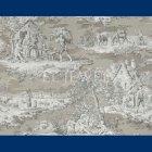 輸入壁紙<b>【フランス・BRAQUENIE】</b>トワルドジュイ柄  MATIN MIDI SOIR ブラウン色 68.6cm巾×10.05m巻