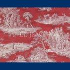 輸入壁紙<b>【フランス・BRAQUENIE】</b>トワルドジュイ柄  MATIN MIDI SOIR レッド色 68.6cm巾×10.05m巻