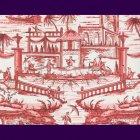 輸入壁紙<b>【フランス・BRAQUENIE】</b>シノワズリー柄 DELFT レッド 68.6cm巾×10.05m巻