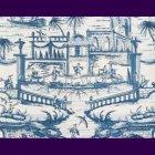 輸入壁紙<b>【フランス・BRAQUENIE】</b>シノワズリー柄 DELFT ブルー 68.6cm巾×10.05m巻