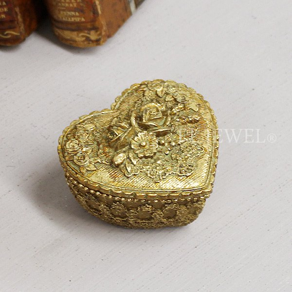 【完売】インテリアのワンポイントに♪アンティーク調ローズ・ハート型小物入れ ゴールド (W7×H5cm)