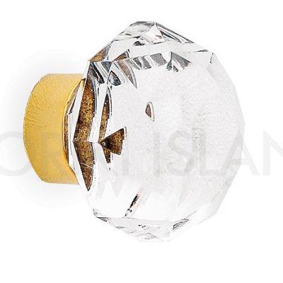 真鍮製 ガラス取っ手 (つまみ) ゴールド (W3.2×D3.8×H3.2cm)**