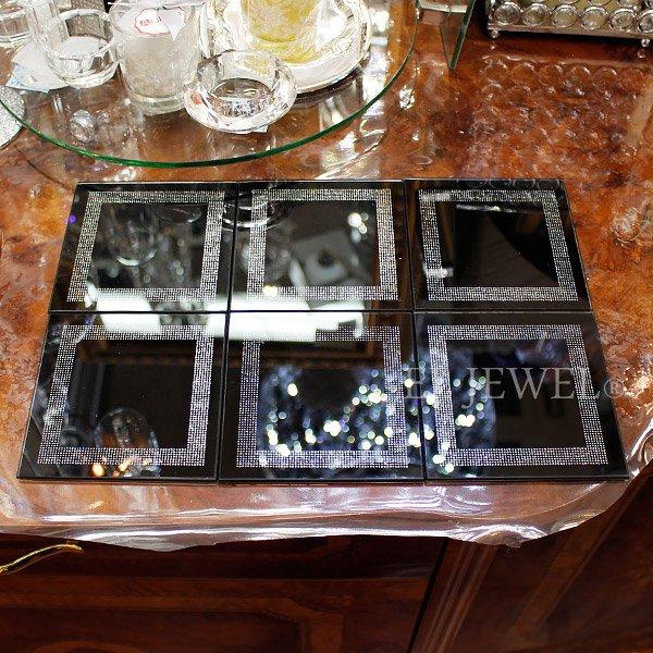 【即納可!】キラキラ♪フランス「Aulica」社製ミラーコースター ブラック 6枚セット(W10×H10cm)