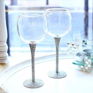 <b>【即納可!】</b>キラキラ♪ 【フランス-Aulica】ワイングラス 2本セット(H24cm)