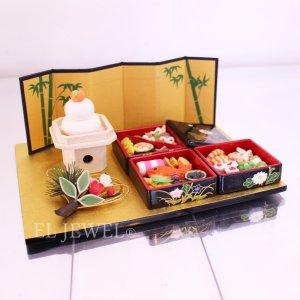 <b>【即納可!】</b>お正月の飾りに♪おせち料理、松竹梅、鏡餅etc 5点セット♪