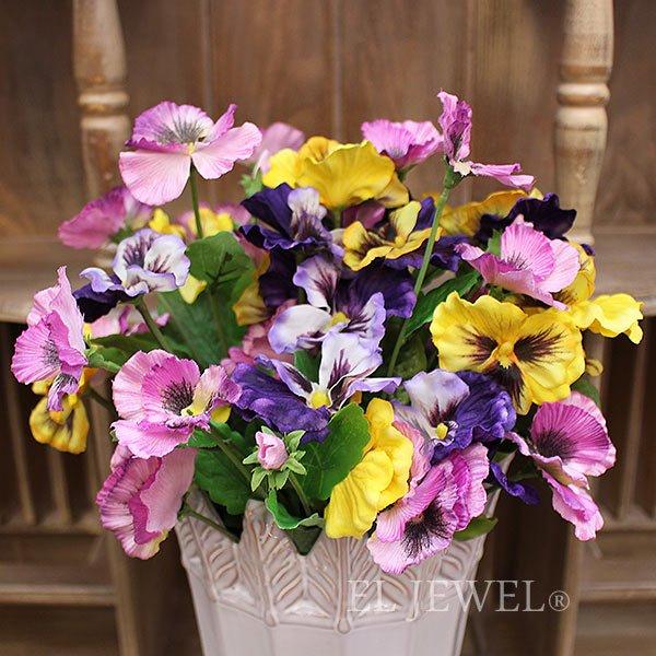 【即納可!】【artificial flower】「フリーディアパンジー」パープル系 1本(花径7×L37cm)