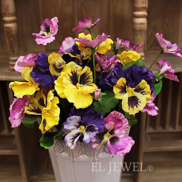【即納可!】【artificial flower】「フリーディアパンジー」イエロー×パープル系 1本(花径7×L37cm)