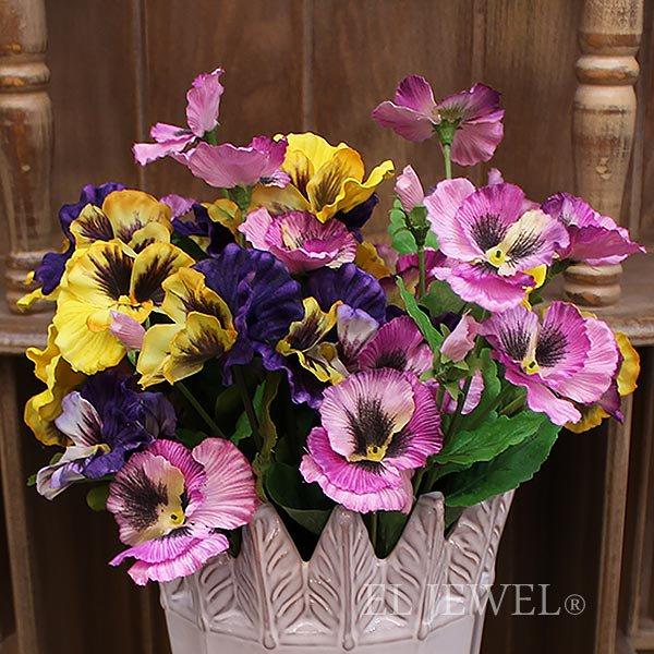 【即納可!】【artificial flower】「メリルパンジー」ラベンダー系 1本(花径6.5×L36cm)
