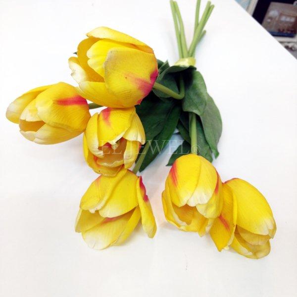【即納可!】【artificial flower】「チューリップ」イエロー系 1本(花径6×花丈7×L48cm)