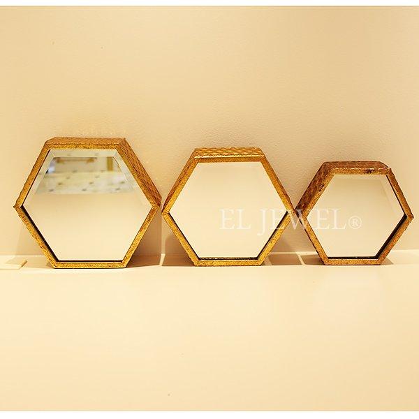 【即納可!】【フランス-EMDE】ウォール六角形ミラー・ゴールド 3枚セット(W21.24.26cm)