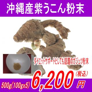沖縄産100%紫ウコン(ガジュツ)粉末パウダー500g(100gx5)