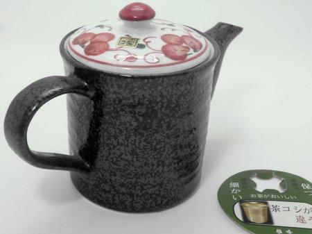 スーパーステンレス茶こし搭載 急須 赤絵黒(有田焼)
