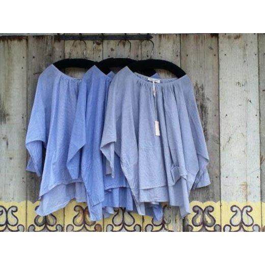 2013summer44[ARTE POVERA]ストライプギャザリングシャツ-1