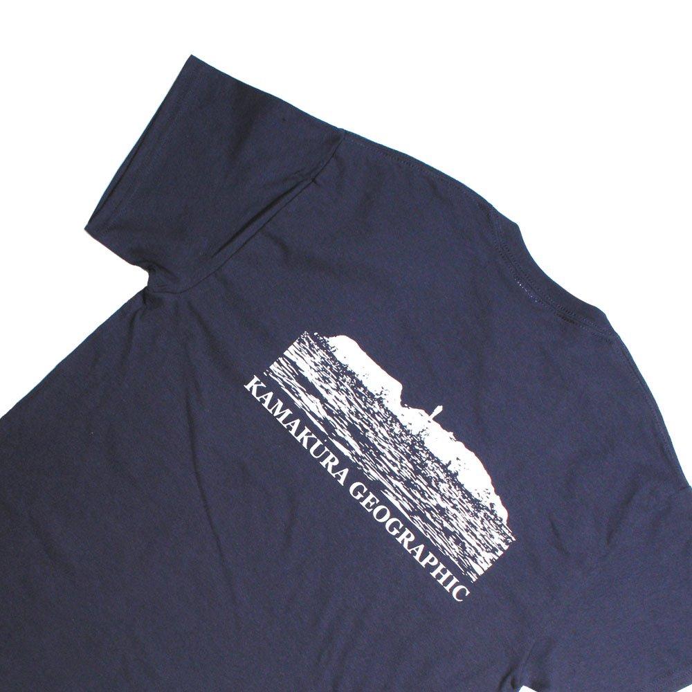 【鎌Tシャツ / 江の島 (ネイビー)バックプリント】<br>  オリジナルTシャツ