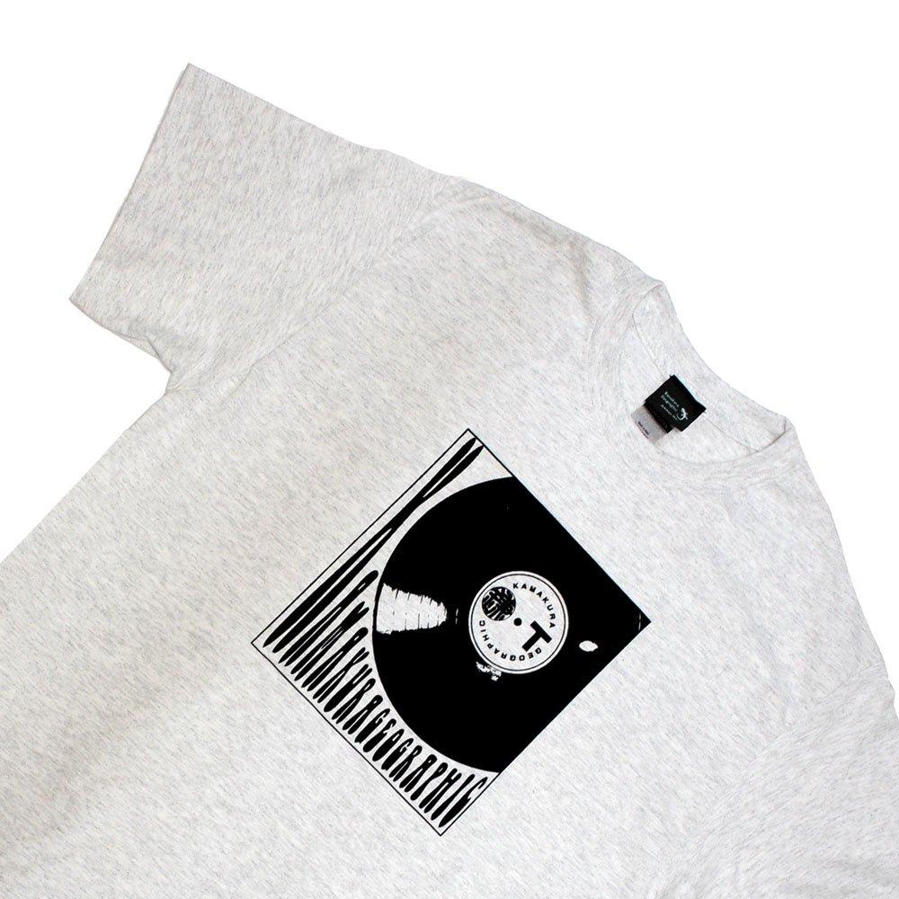 【鎌Tシャツ / レコード(アッシュ)】<br>  アムマックスのオリジナルTシャツ
